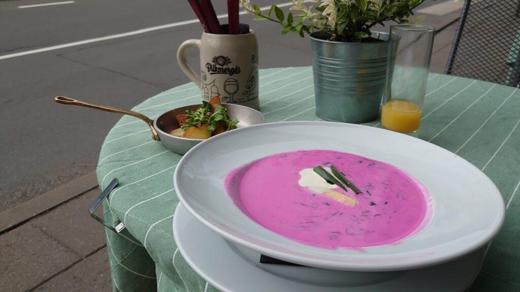 Tradiční litevská růžová polévka Šaltibarščiai